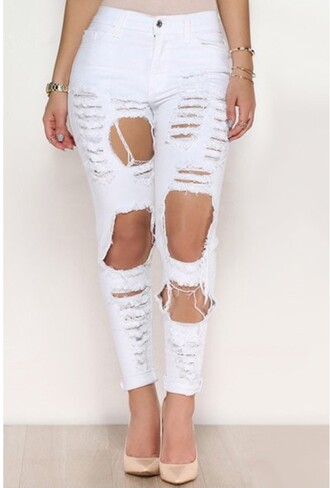 jeans pants white ripped fashion trendy style summer trendsgal.com