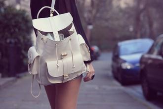white bag bag white backpack fashion bookbag
