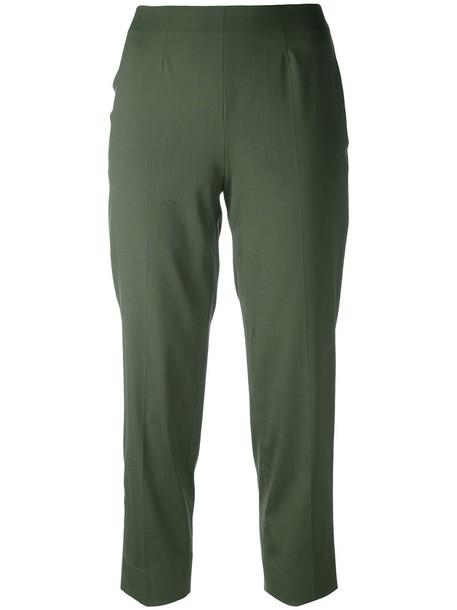 Piazza Sempione cropped women spandex silk green pants