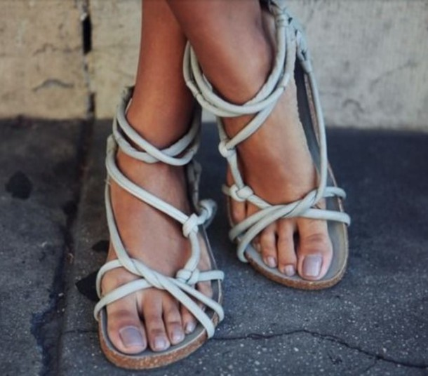 4ce574e83a58 shoes sandals jesus sandals gladiators rope knots flat sandals grey sandals  strappy sandals