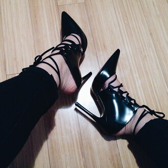 shoes lace up mules heels black heels