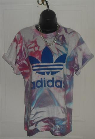 Unisex customised adidas grunge acid wash tie dye t shirt sm