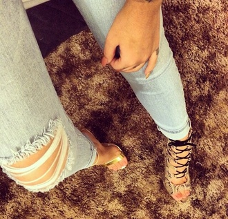 shoes snake print gold heels ripped jeans