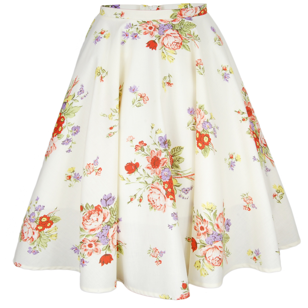 Cream floral full circle swing skirt