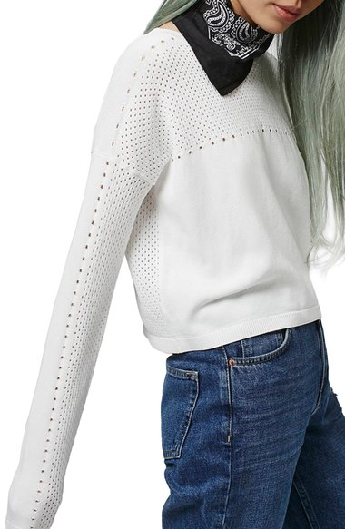 Topshop Mixed Pointelle Crop Sweater | Nordstrom