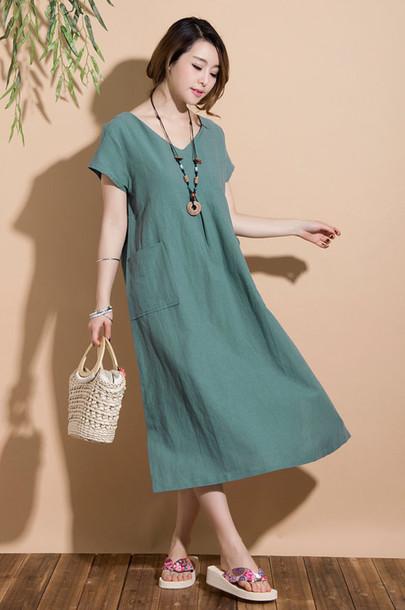 dress long dress linen linen dress