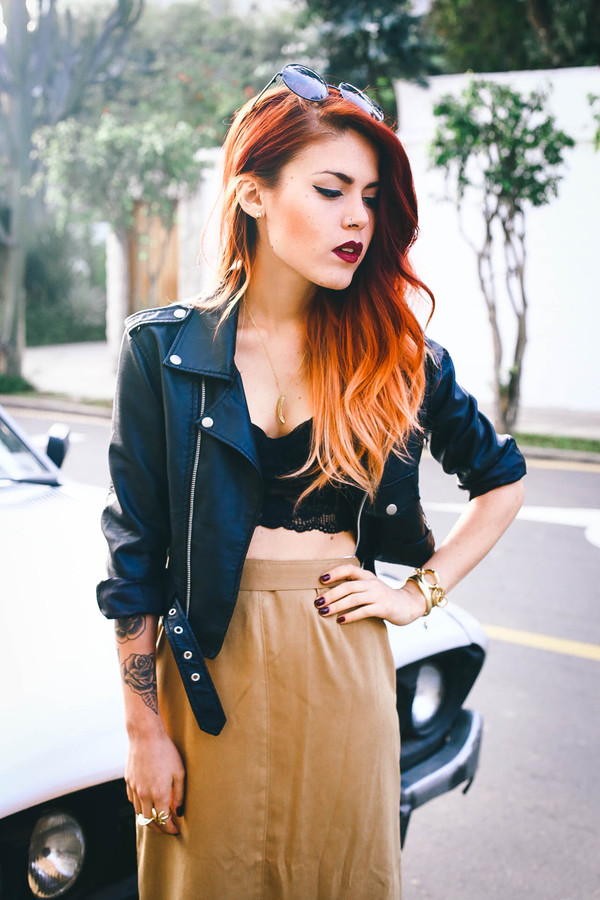 le happy jewels skirt maxi skirt leather jacket perfecto round sunglasses sunglasses blogger summer outfits necklace ring gold tattoo goth hipster hipster bralette sexy nail polish lace black grunge 90s style fashion style biker jacket