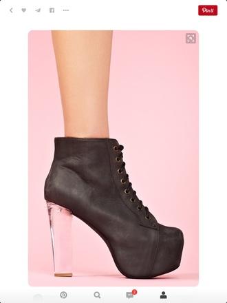 shoes black heels heels high heels transparent black platform shoes