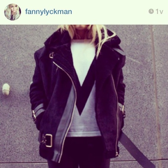 coat black leather shearling aviator jacket combination