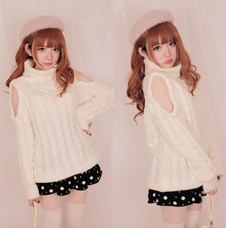 sweater cut-out white fall outfits fashion winter outfits style kawaii girly cute cozy japanese fashion turtleneck warm knitwear wool