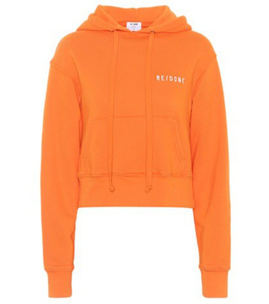 Re/Done hoodie weave cotton orange sweater