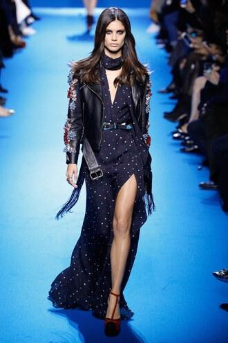 dress slit dress maxi dress elie saab fashion week 2016 paris fashion week 2016 runway model jacket spring dress gown