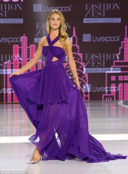 dress rosie huntington-whiteley maxi dress fashion week 2014 purple dress