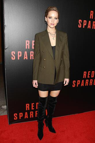 jacket skirt jennifer lawrence mini skirt boots blazer khaki celebrity over the knee boots
