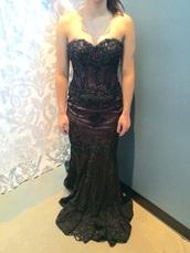 dress,purple and black,lace,prom,mermaid prom dress