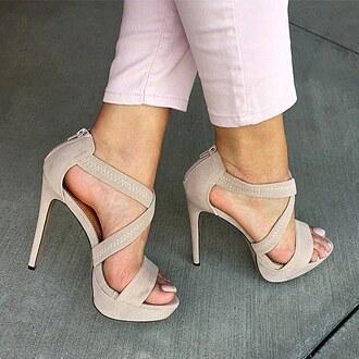 shoes beige tan platform shoes blush pink nude nude heels gojane
