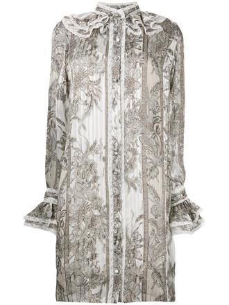 dress shirt dress women floral white silk