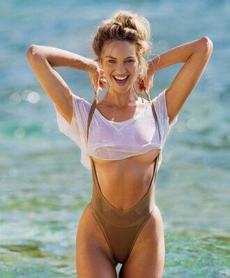 swimwear one piece swimsuit bodysuit candice swanepoel