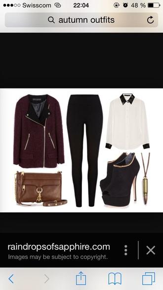 coat burgundy red black blouse brown bag black heels