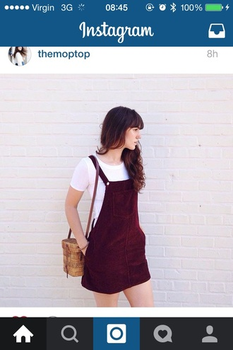 dress red dark burgundy rose purple corduroy dungaree dungarees dungaree dress buttons vintage thrift cute tumblr cool teenagers girl retro 90s style grunge