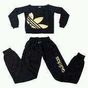 jumpsuit,black and gold,adidas track suit jacket,pajamas,sweats,adidas,foil,gold,black,sleepwear,sweatpants,outfit
