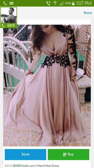 dress nude black lace lace dress maxi dress maxi long-sleeve dress elegant dress