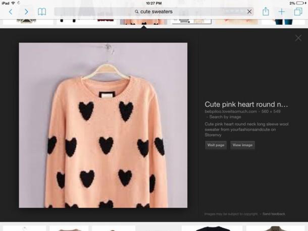sweater pink heart round neck longsleve wool sweater