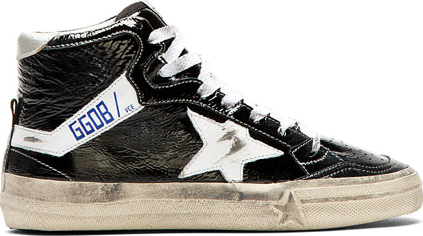 Golden Goose - Black Patent Leather Crinkled Slide Sneakers