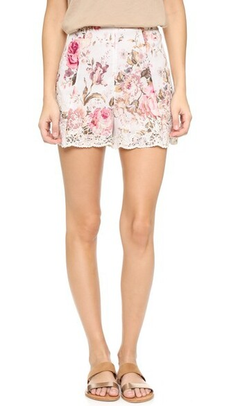 shorts flare embroidered floral