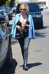 jeans,ashley benson,black jeans,top,denim jacket,belt,bag,sunglasses,boots,shoes