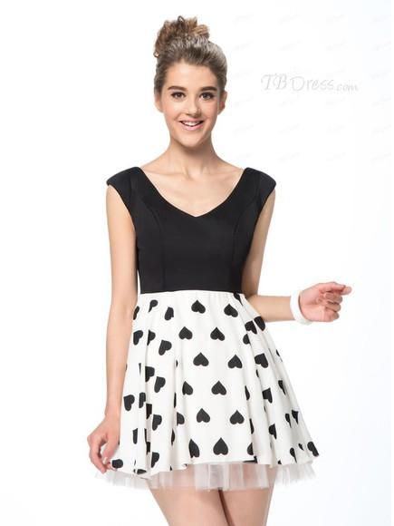 black dress heart black and white tbdress-club cute dress