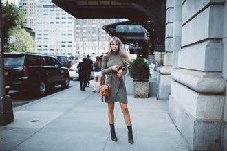 cara loren blogger skirt shoes bag sunglasses make-up mini dress ankle boots black boots shoulder bag brown bag long sleeves green dress