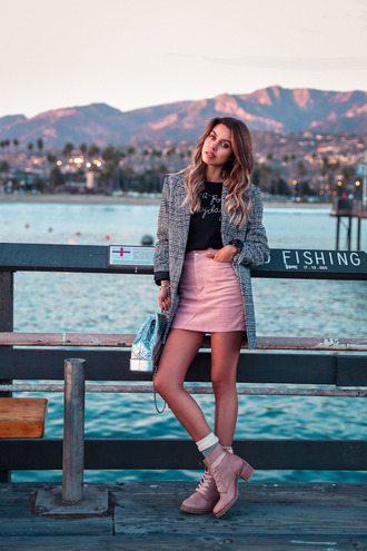 viva luxury blogger jacket skirt sweater fall outfits grey coat mini skirt pink skirt ankle boots