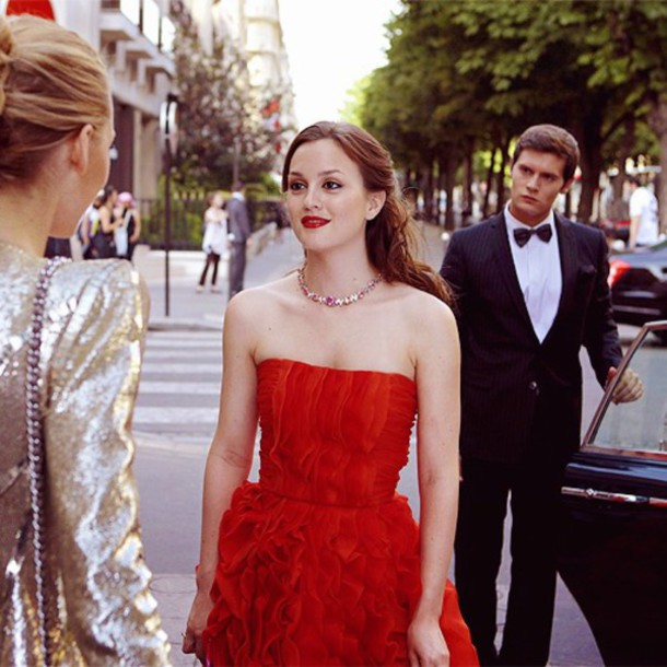 dress, gossip girl, red dress, red, leighton meester, gossip girl ...