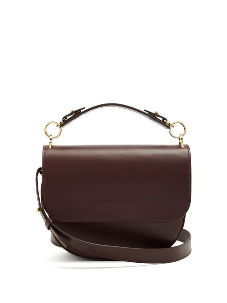 Sophie Hulme bow cross bag leather burgundy