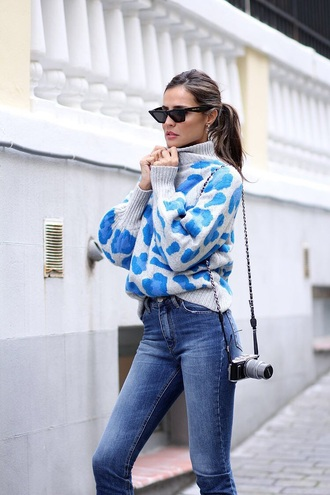 sweater printed sweater knit knitwear knitted sweater jeans denim