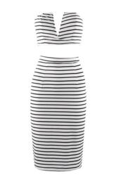 black and white dress,black and white stripes,two-piece,two piece bodycon dress,crop top dress,pencil dress,plunge v neck dress,midi dress,www.ustrendy.com