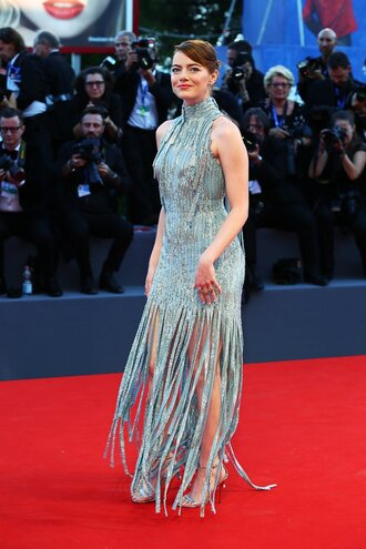 dress sequins gown prom dress sequin dress silver metallic emma stone red carpet dress red carpet shoes fringes sandals metallic shoes celebrity style celebrity dress 2014