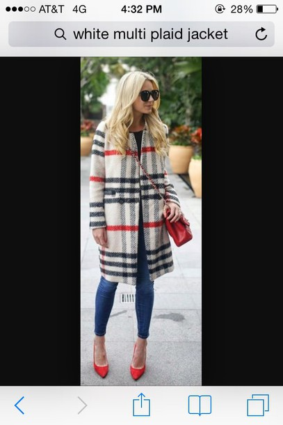 coat plaid jacket red style