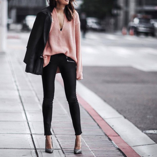 sweater tumblr pink pink sweater v neck pants black pants skinny pants black blazer blazer pumps pointed toe pumps high heel pumps fall outfits