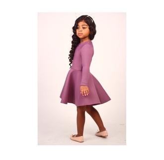 dress purple dress purple shoes flats flats with bows cat ears ears headband cute pretty fashion peplum peplum dress flare flare skirt flare dress kids fashion curls high low high low dress high low skirt sandals