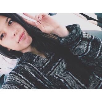 sweater black baja hoodie baja jacket mexico jamaica poncho grey sweater striped sweater