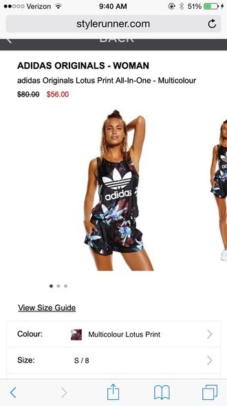 jumpsuit adidas originas lotus print all in one