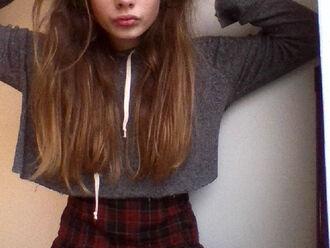 sweater casual hood hoodie plaid plaid skirt