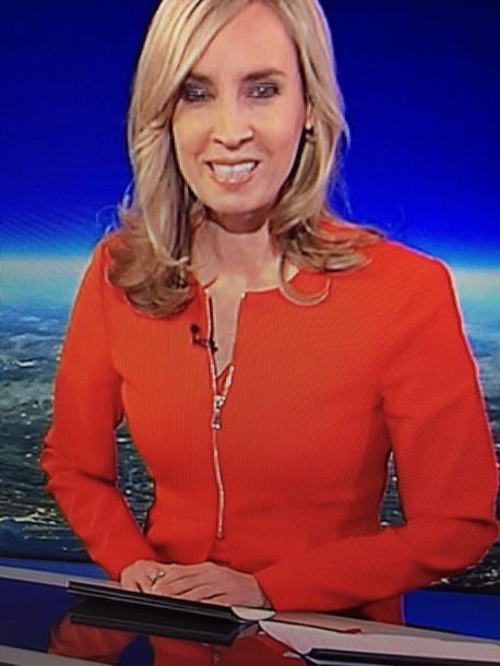 jacket red orange zip gold