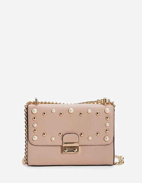 Stradivarius bag crossbody bag nude pink