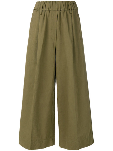 Forte Forte cropped women cotton green pants