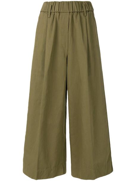 cropped women cotton green pants