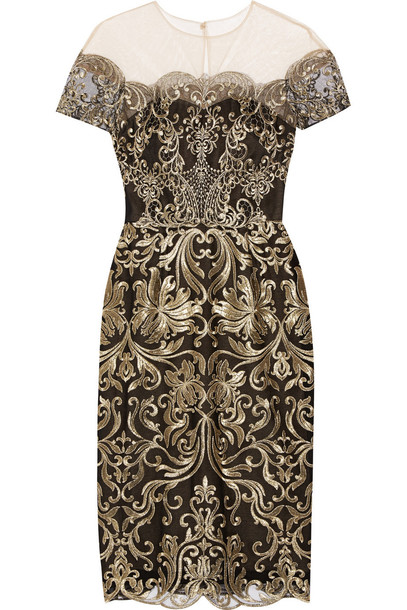 Marchesa Notte dress tulle dress embroidered metallic gold black
