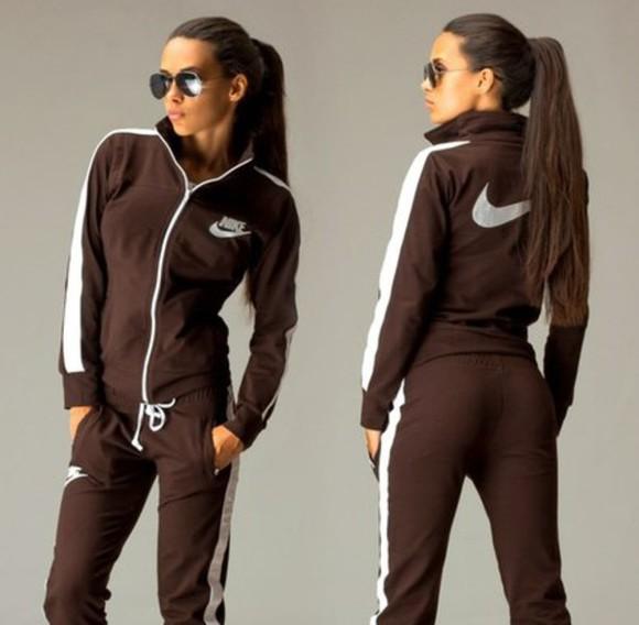 jacket brown jumpsuit nike zipper sportswear outwear outfit sportswear, nike, running, sporty style